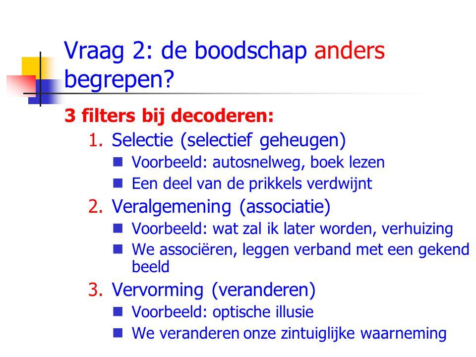 Vraag 2: de boodschap anders begrepen? 3 filters bij decoderen: 1.Selectie (selectief geheugen) Voorbeeld: autosnelweg, boek lezen Een deel van de pri