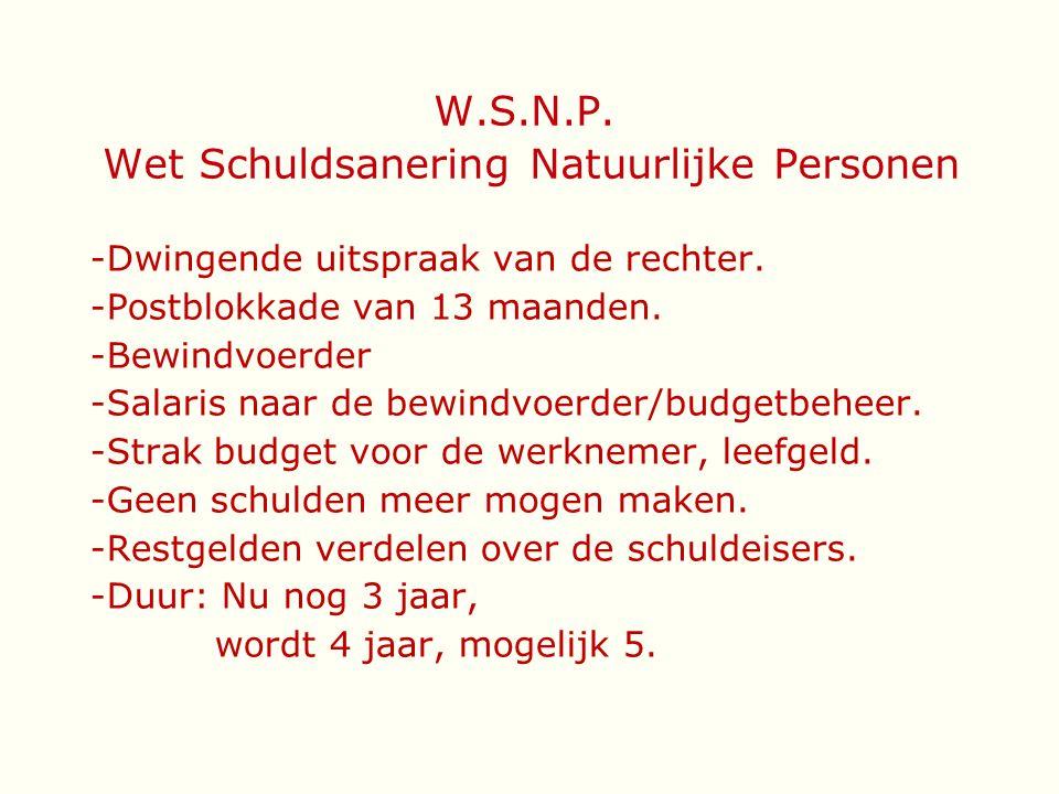 W.S.N.P. Wet Schuldsanering Natuurlijke Personen -Dwingende uitspraak van de rechter. -Postblokkade van 13 maanden. -Bewindvoerder -Salaris naar de be
