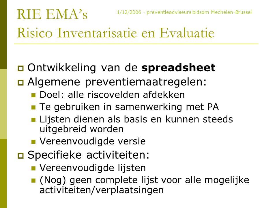 RIE EMA's Risico Inventarisatie en Evaluatie  Ontwikkeling van de spreadsheet  Algemene preventiemaatregelen: Doel: alle riscovelden afdekken Te geb