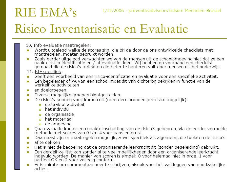 RIE EMA's Risico Inventarisatie en Evaluatie 10. Info evaluatie maatregelen: Wordt uitgelegd welke de scores zijn, die bij de door de ons ontwikkelde