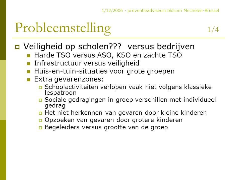 Probleemstelling 1/4  Veiligheid op scholen??? versus bedrijven Harde TSO versus ASO, KSO en zachte TSO Infrastructuur versus veiligheid Huis-en-tuin