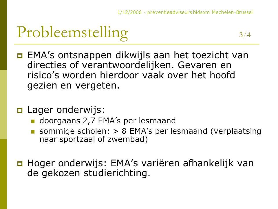 Probleemstelling 3/4  EMA's ontsnappen dikwijls aan het toezicht van directies of verantwoordelijken. Gevaren en risico's worden hierdoor vaak over h