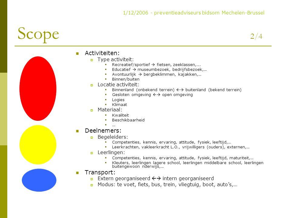 Scope 2/4 Activiteiten:  Type activiteit:  Recreatief/sportief  fietsen, zeeklassen,...  Educatief  museumbezoek, bedrijfsbezoek,…  Avontuurlijk
