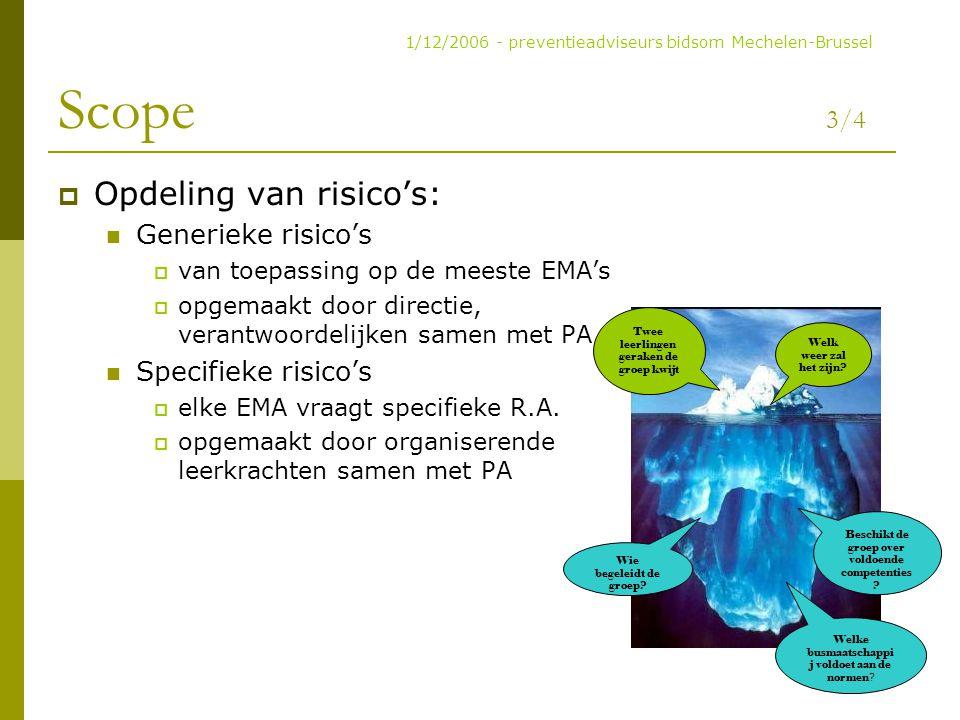 Scope 3/4  Opdeling van risico's: Generieke risico's  van toepassing op de meeste EMA's  opgemaakt door directie, verantwoordelijken samen met PA S