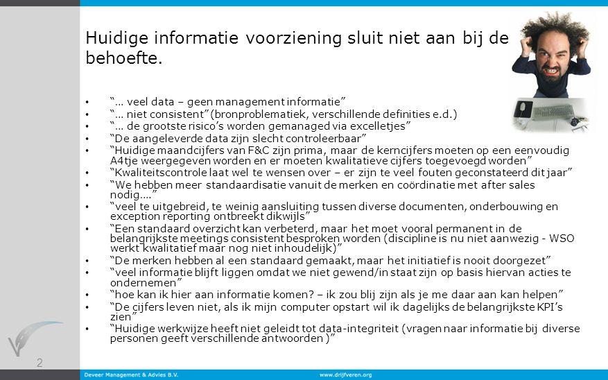 """2 Huidige informatie voorziening sluit niet aan bij de behoefte. """"… veel data – geen management informatie"""" """"… niet consistent"""" (bronproblematiek, ver"""