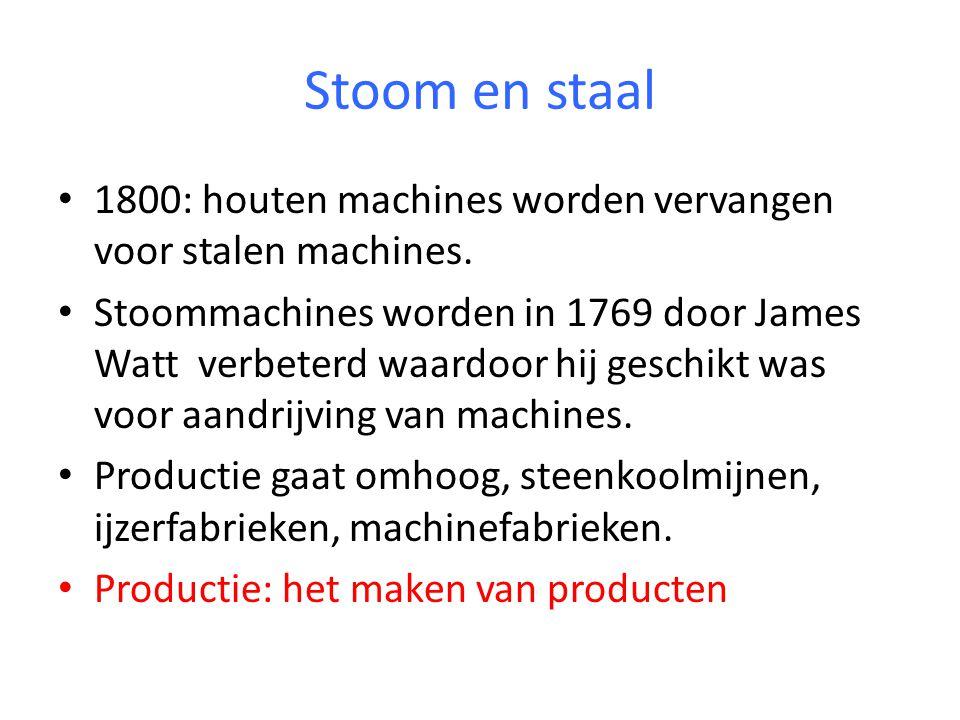 Stoom en staal 1800: houten machines worden vervangen voor stalen machines.