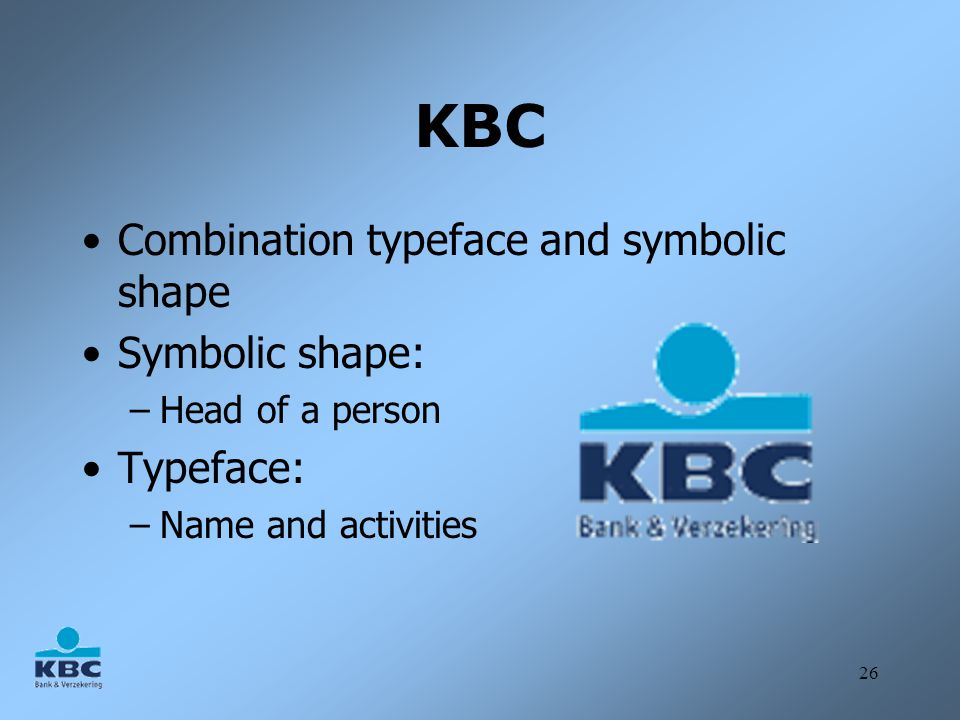 26 KBC Combination typeface and symbolic shape Symbolic shape: –Head of a person Typeface: –Name and activities