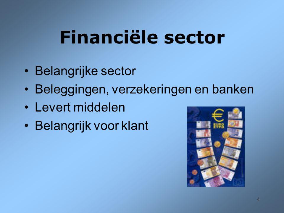 5 Financiële sector 2 Sub-sectoren: –NBB –Muntfonds, bestuur der Postchecks, Rentenfonds –Kredietinstellingen –Verzekeringsmaatschappijen