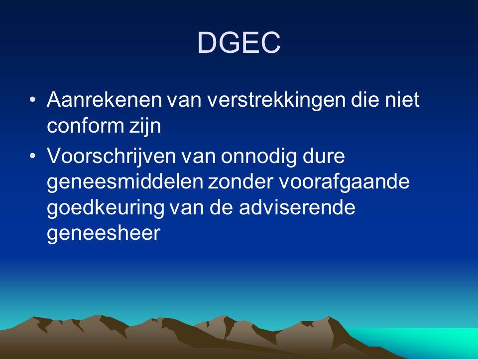 DGEC Aanrekenen van verstrekkingen die niet conform zijn Voorschrijven van onnodig dure geneesmiddelen zonder voorafgaande goedkeuring van de advisere