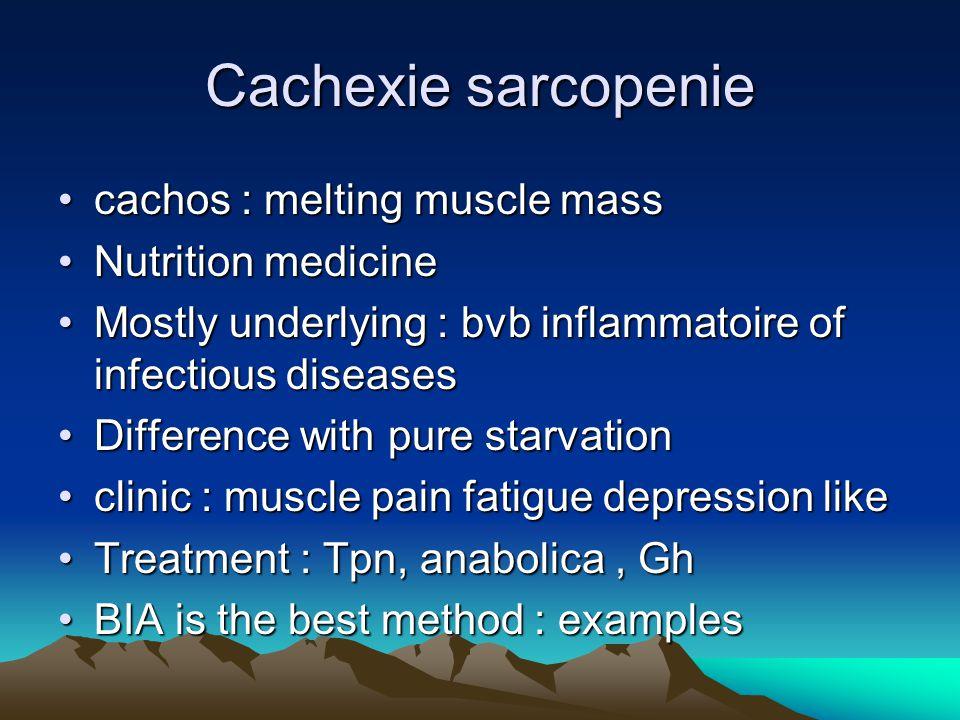 Cachexie sarcopenie cachos : melting muscle masscachos : melting muscle mass Nutrition medicineNutrition medicine Mostly underlying : bvb inflammatoir
