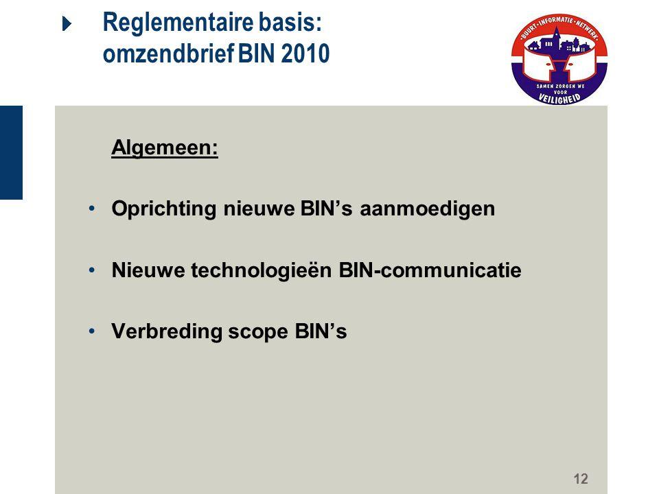 12 Reglementaire basis: omzendbrief BIN 2010 Algemeen: Oprichting nieuwe BIN's aanmoedigen Nieuwe technologieën BIN-communicatie Verbreding scope BIN'