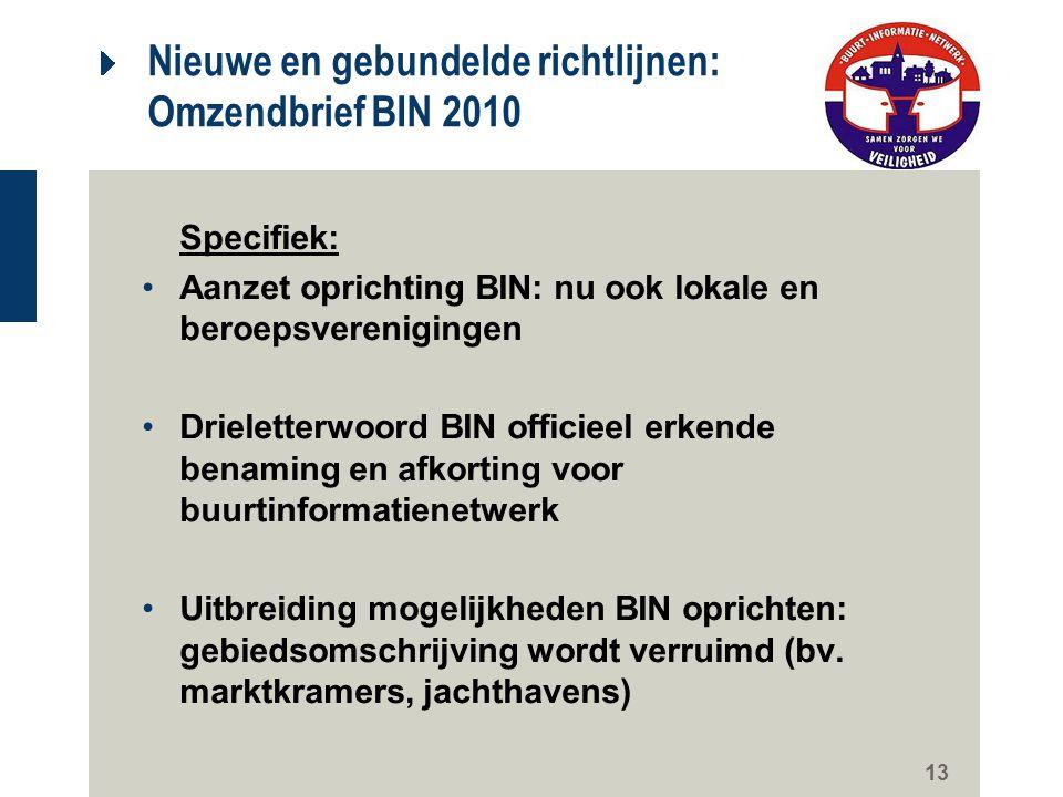 13 Nieuwe en gebundelde richtlijnen: Omzendbrief BIN 2010 Specifiek: Aanzet oprichting BIN: nu ook lokale en beroepsverenigingen Drieletterwoord BIN o
