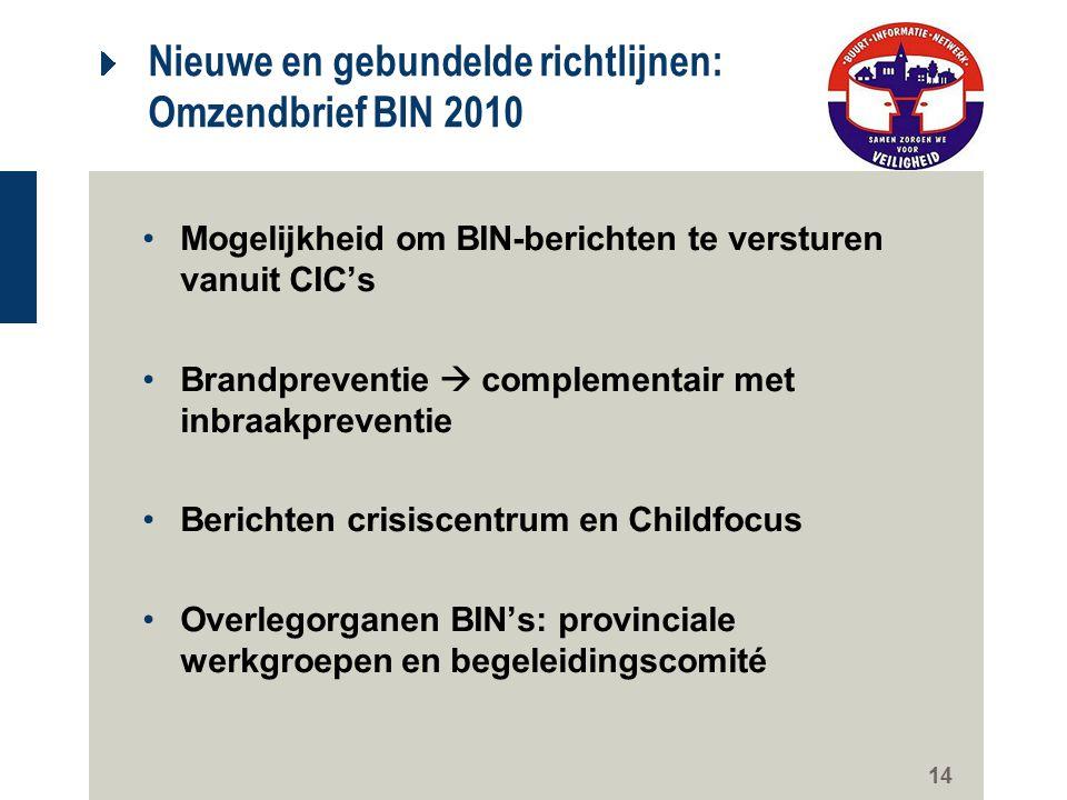 14 Nieuwe en gebundelde richtlijnen: Omzendbrief BIN 2010 Mogelijkheid om BIN-berichten te versturen vanuit CIC's Brandpreventie  complementair met i