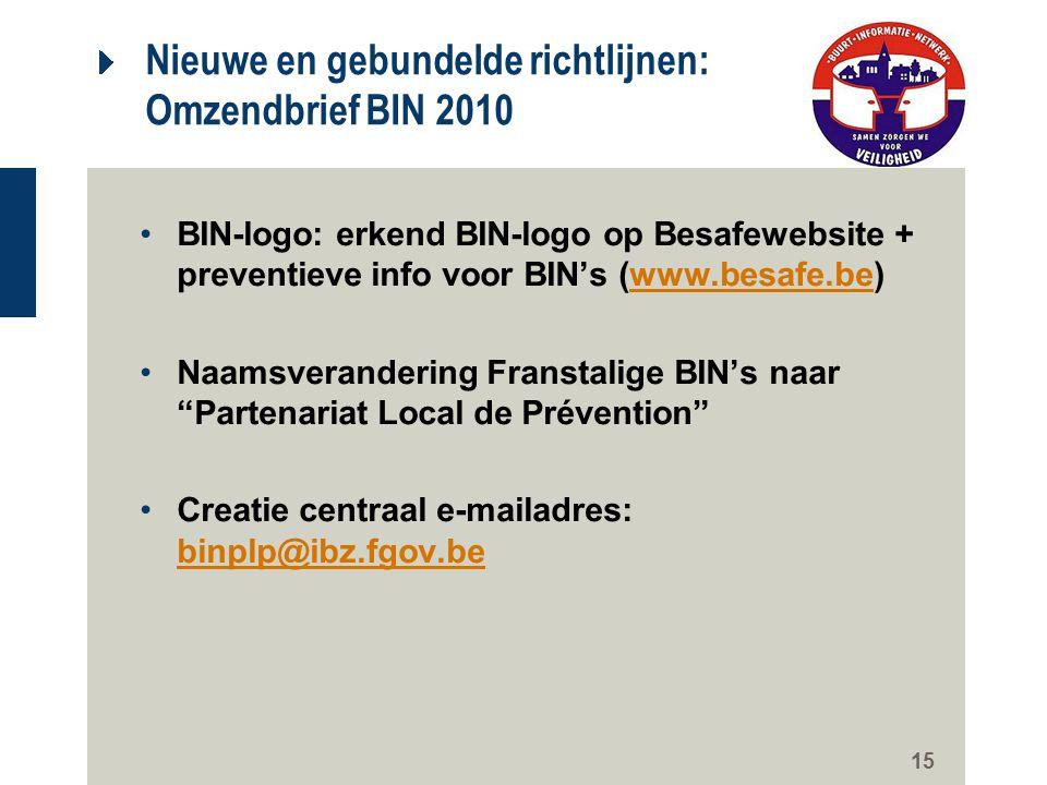 15 Nieuwe en gebundelde richtlijnen: Omzendbrief BIN 2010 BIN-logo: erkend BIN-logo op Besafewebsite + preventieve info voor BIN's (www.besafe.be)www.