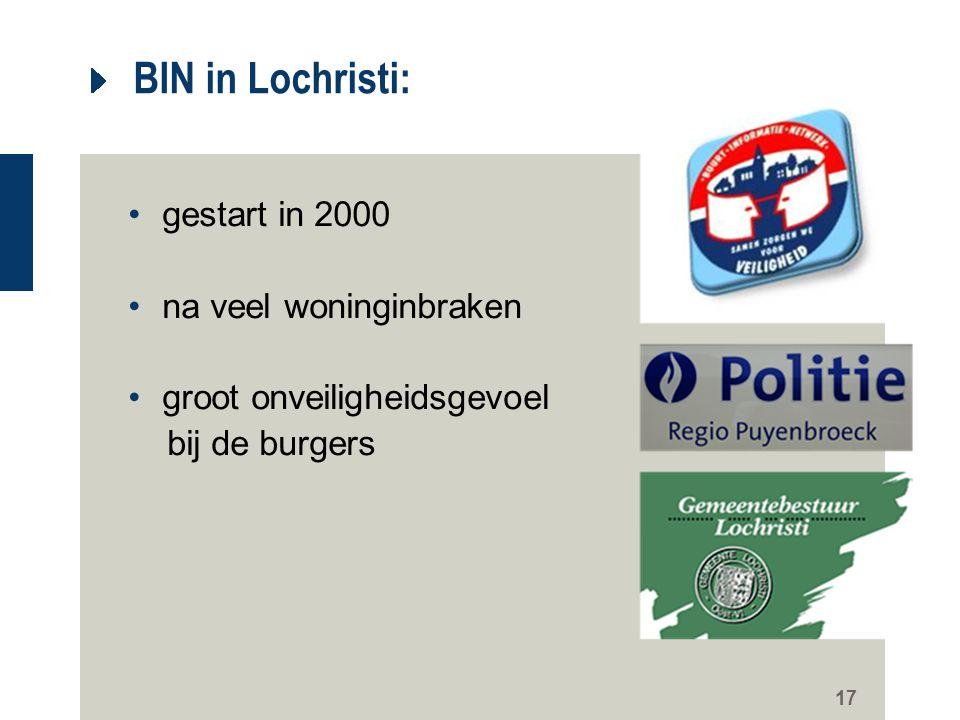 17 BIN in Lochristi: gestart in 2000 na veel woninginbraken groot onveiligheidsgevoel bij de burgers