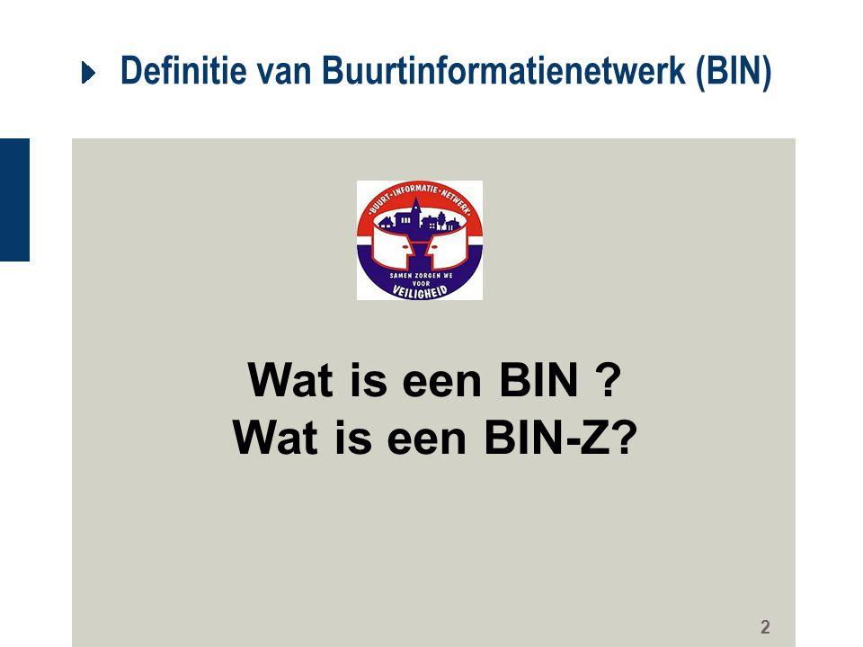 2 Definitie van Buurtinformatienetwerk (BIN) Wat is een BIN ? Wat is een BIN-Z?