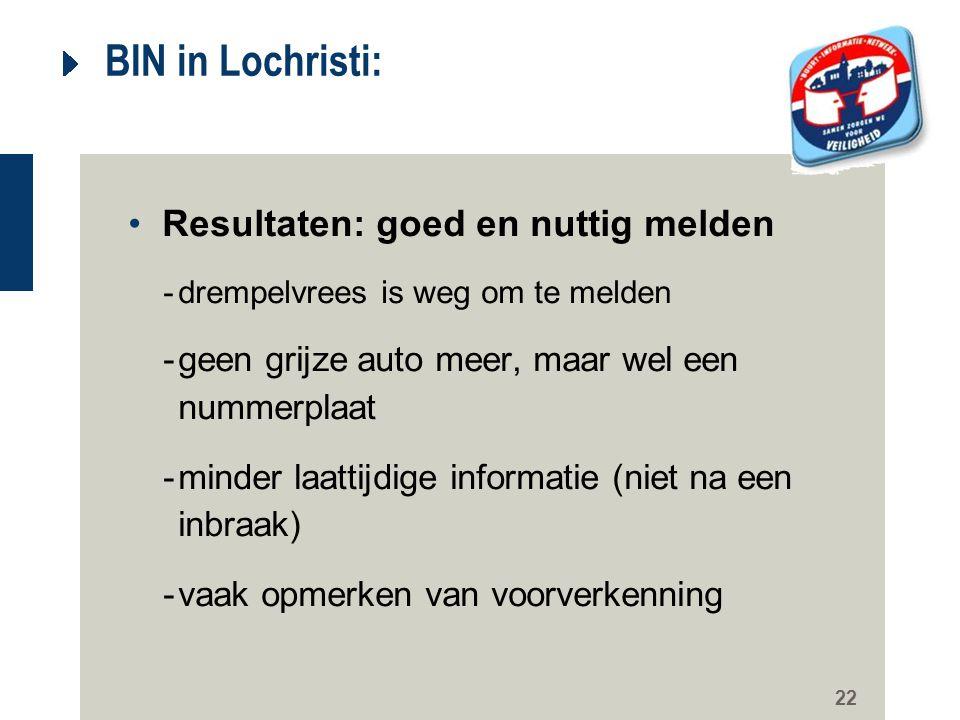 22 BIN in Lochristi: Resultaten: goed en nuttig melden -drempelvrees is weg om te melden -geen grijze auto meer, maar wel een nummerplaat -minder laat