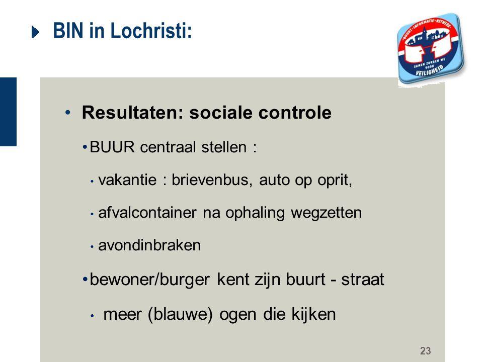 23 BIN in Lochristi: Resultaten: sociale controle BUUR centraal stellen : vakantie : brievenbus, auto op oprit, afvalcontainer na ophaling wegzetten a