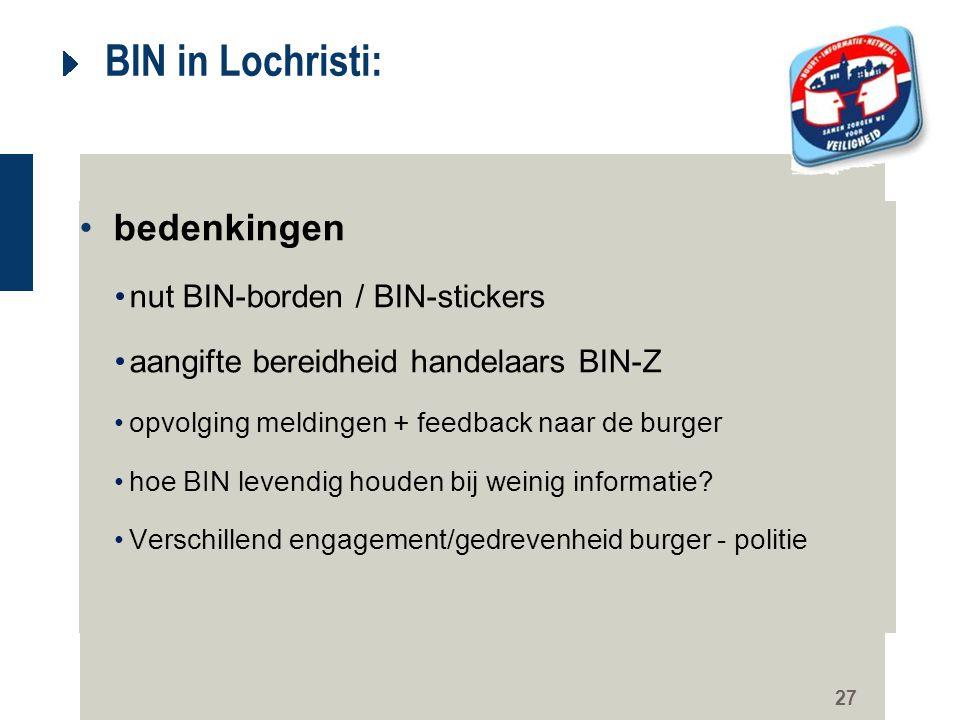 27 BIN in Lochristi: bedenkingen nut BIN-borden / BIN-stickers aangifte bereidheid handelaars BIN-Z opvolging meldingen + feedback naar de burger hoe