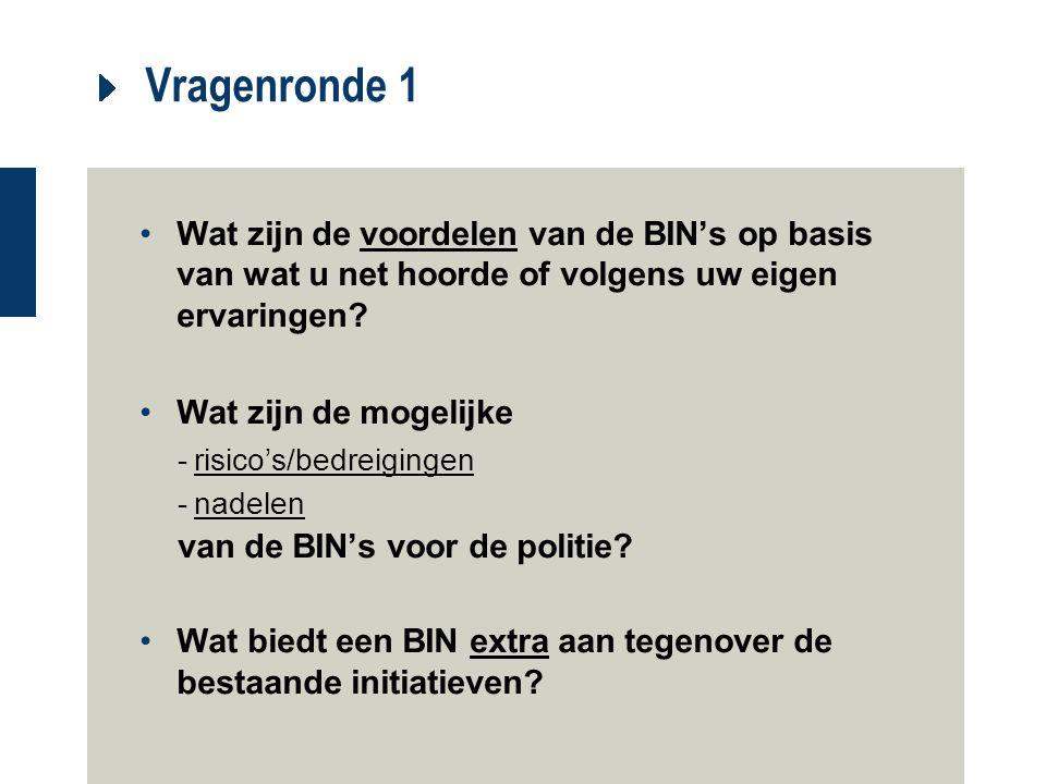 Vragenronde 1 Wat zijn de voordelen van de BIN's op basis van wat u net hoorde of volgens uw eigen ervaringen? Wat zijn de mogelijke -risico's/bedreig