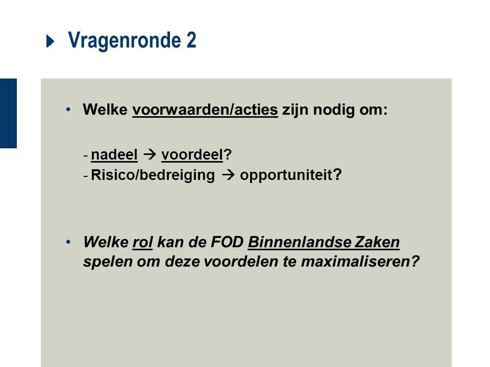 Vragenronde 2 Welke voorwaarden/acties zijn nodig om: -nadeel  voordeel? -Risico/bedreiging  opportuniteit ? Welke rol kan de FOD Binnenlandse Zaken