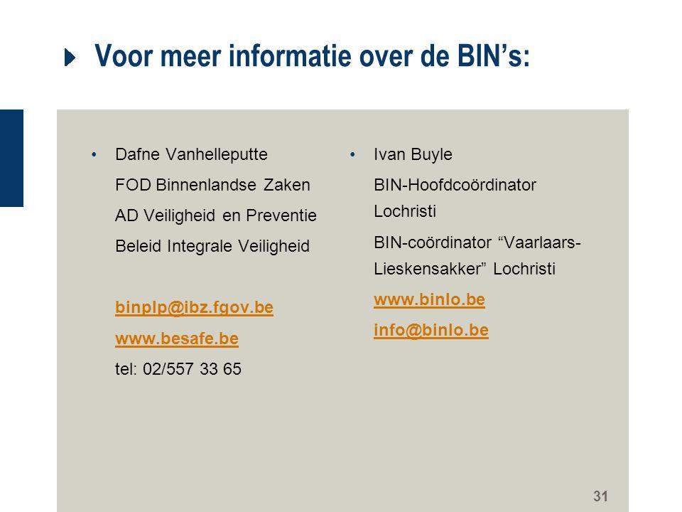 31 Voor meer informatie over de BIN's: Dafne Vanhelleputte FOD Binnenlandse Zaken AD Veiligheid en Preventie Beleid Integrale Veiligheid binplp@ibz.fg