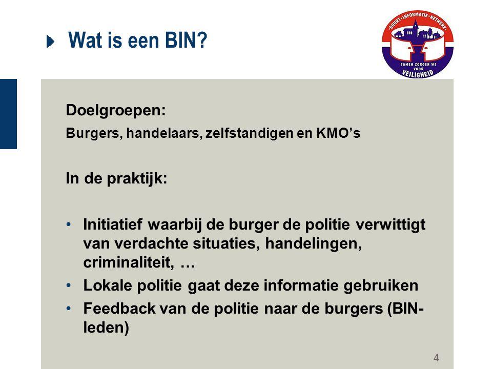 4 Wat is een BIN? Doelgroepen: Burgers, handelaars, zelfstandigen en KMO's In de praktijk: Initiatief waarbij de burger de politie verwittigt van verd