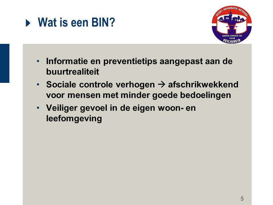 5 Wat is een BIN? Informatie en preventietips aangepast aan de buurtrealiteit Sociale controle verhogen  afschrikwekkend voor mensen met minder goede