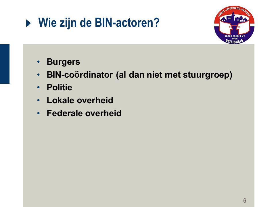 6 Wie zijn de BIN-actoren? Burgers BIN-coördinator (al dan niet met stuurgroep) Politie Lokale overheid Federale overheid