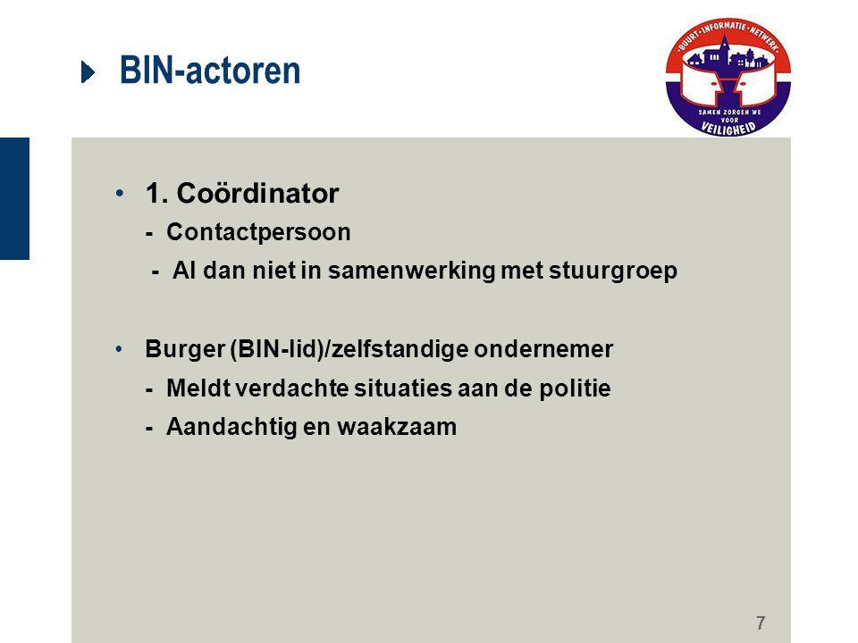 7 BIN-actoren 1. Coördinator - Contactpersoon - Al dan niet in samenwerking met stuurgroep Burger (BIN-lid)/zelfstandige ondernemer - Meldt verdachte