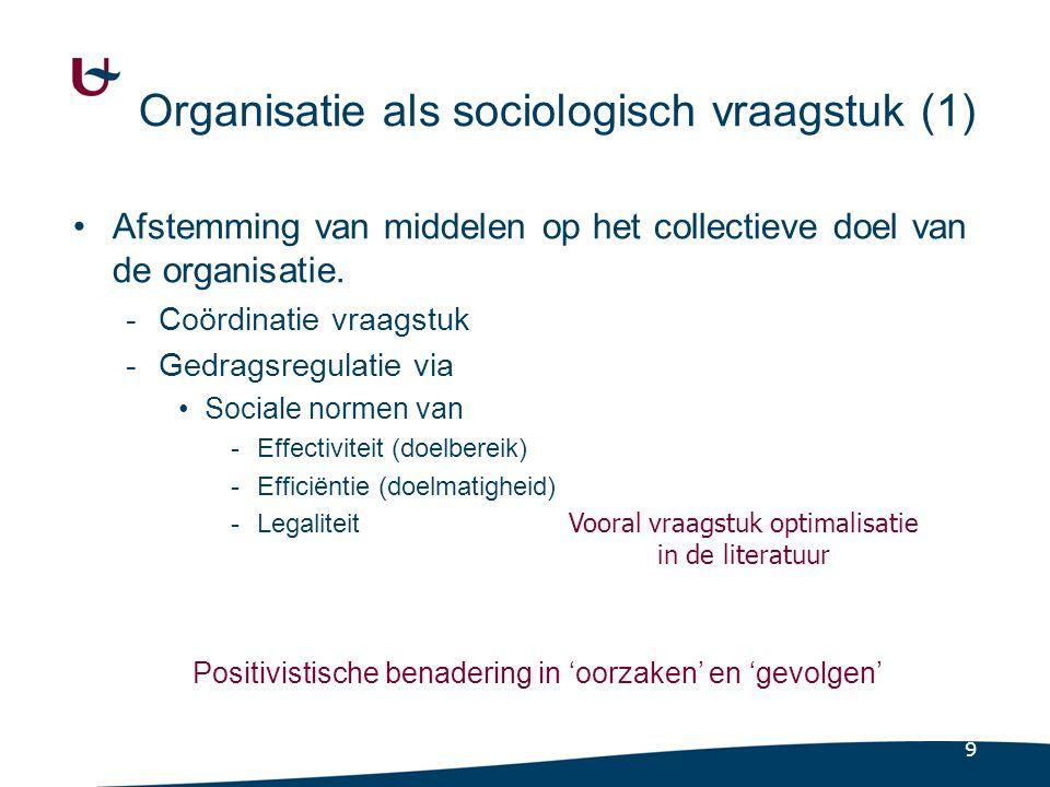 9 Organisatie als sociologisch vraagstuk (1) Afstemming van middelen op het collectieve doel van de organisatie. -Coördinatie vraagstuk -Gedragsregula