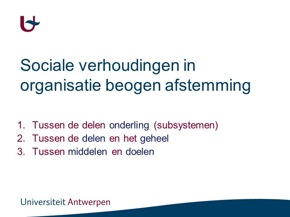 Sociale verhoudingen in organisatie beogen afstemming 1.Tussen de delen onderling (subsystemen) 2.Tussen de delen en het geheel 3.Tussen middelen en d
