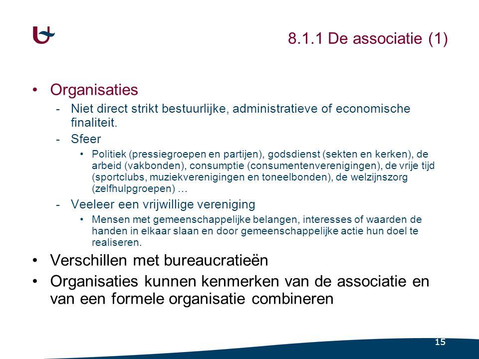 15 8.1.1 De associatie (1) Organisaties -Niet direct strikt bestuurlijke, administratieve of economische finaliteit. -Sfeer Politiek (pressiegroepen e