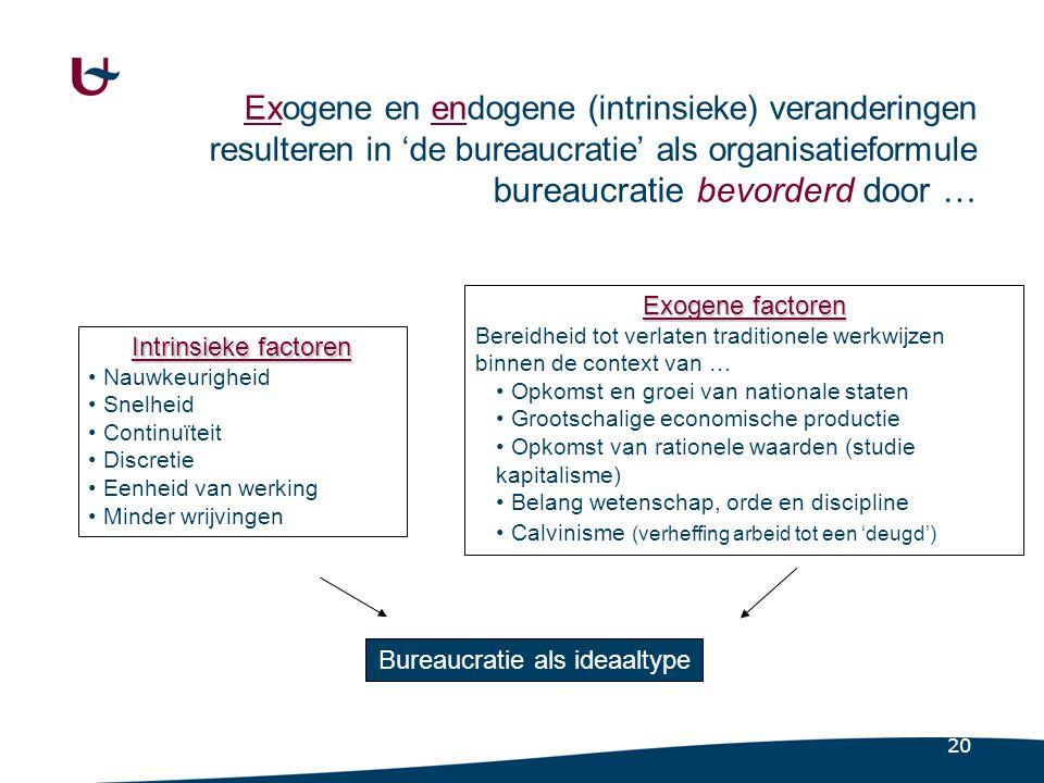 20 Exogene en endogene (intrinsieke) veranderingen resulteren in 'de bureaucratie' als organisatieformule bureaucratie bevorderd door … Intrinsieke fa