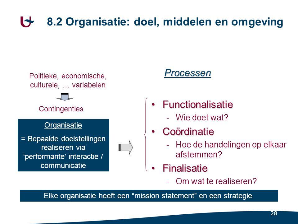 28 8.2 Organisatie: doel, middelen en omgeving FunctionalisatieFunctionalisatie -Wie doet wat? CoördinatieCoördinatie -Hoe de handelingen op elkaar af