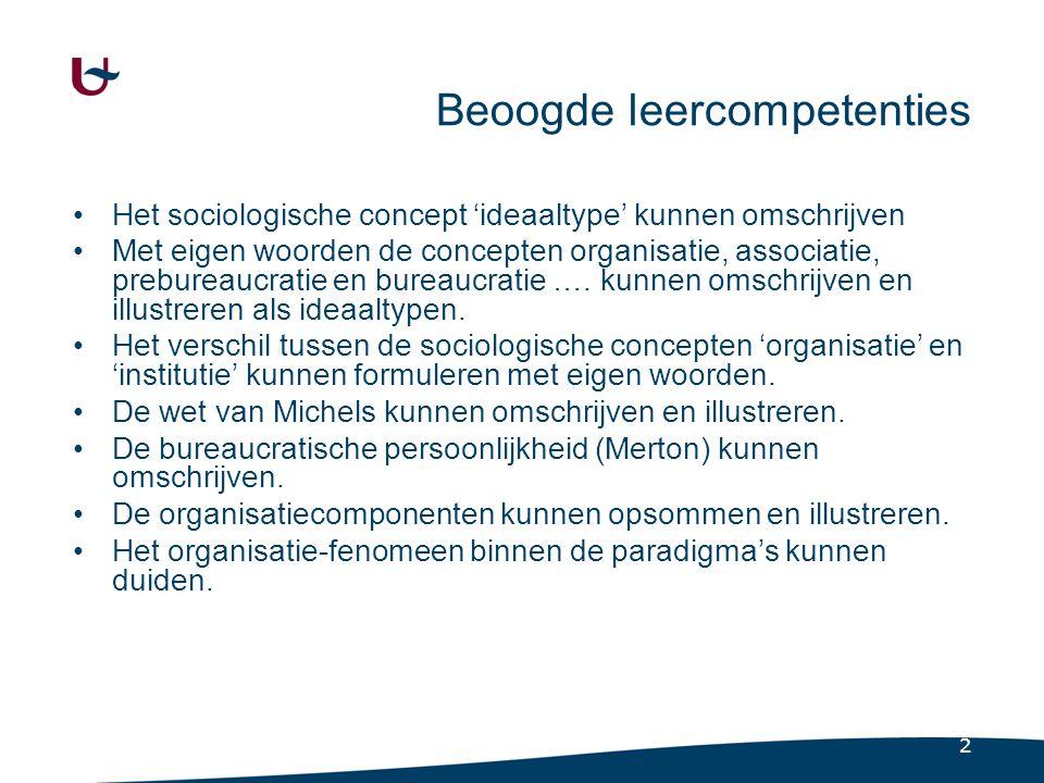 2 Beoogde leercompetenties Het sociologische concept 'ideaaltype' kunnen omschrijven Met eigen woorden de concepten organisatie, associatie, prebureau