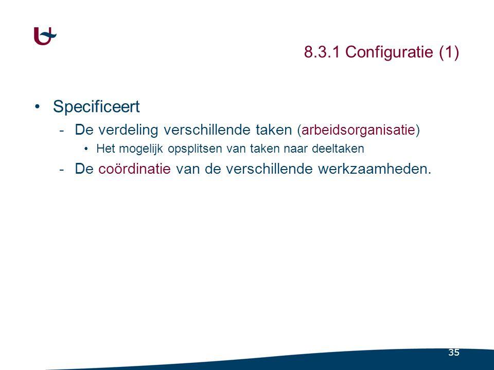 35 8.3.1 Configuratie (1) Specificeert -De verdeling verschillende taken (arbeidsorganisatie) Het mogelijk opsplitsen van taken naar deeltaken -De coö