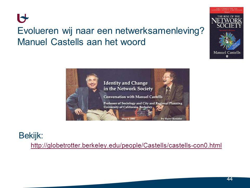 44 Evolueren wij naar een netwerksamenleving? Manuel Castells aan het woord Bekijk: http://globetrotter.berkeley.edu/people/Castells/castells-con0.htm