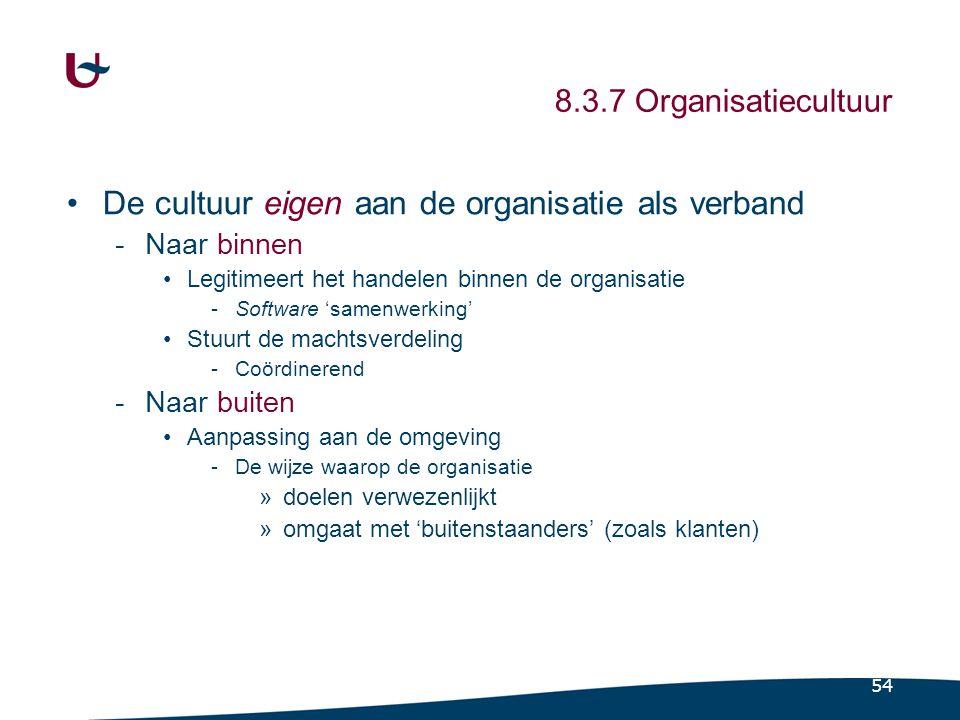54 8.3.7 Organisatiecultuur De cultuur eigen aan de organisatie als verband -Naar binnen Legitimeert het handelen binnen de organisatie -Software 'sam