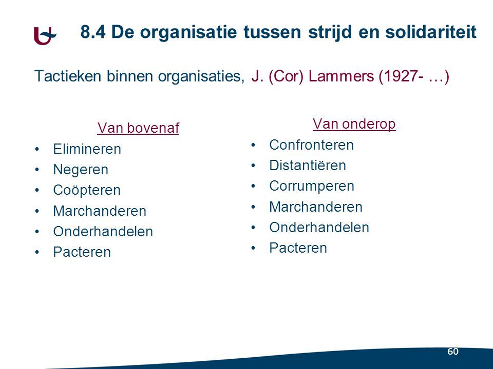60 Tactieken binnen organisaties, J. (Cor) Lammers (1927- …) Van bovenaf Elimineren Negeren Coöpteren Marchanderen Onderhandelen Pacteren Van onderop
