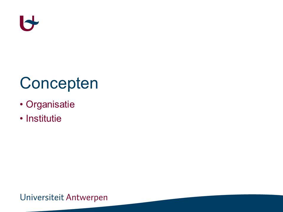 Concepten Organisatie Institutie