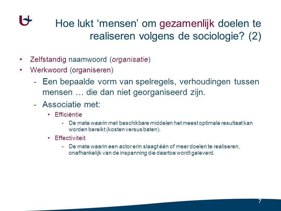 7 Hoe lukt 'mensen' om gezamenlijk doelen te realiseren volgens de sociologie? (2) Zelfstandig naamwoord (organisatie) Werkwoord (organiseren) -Een be