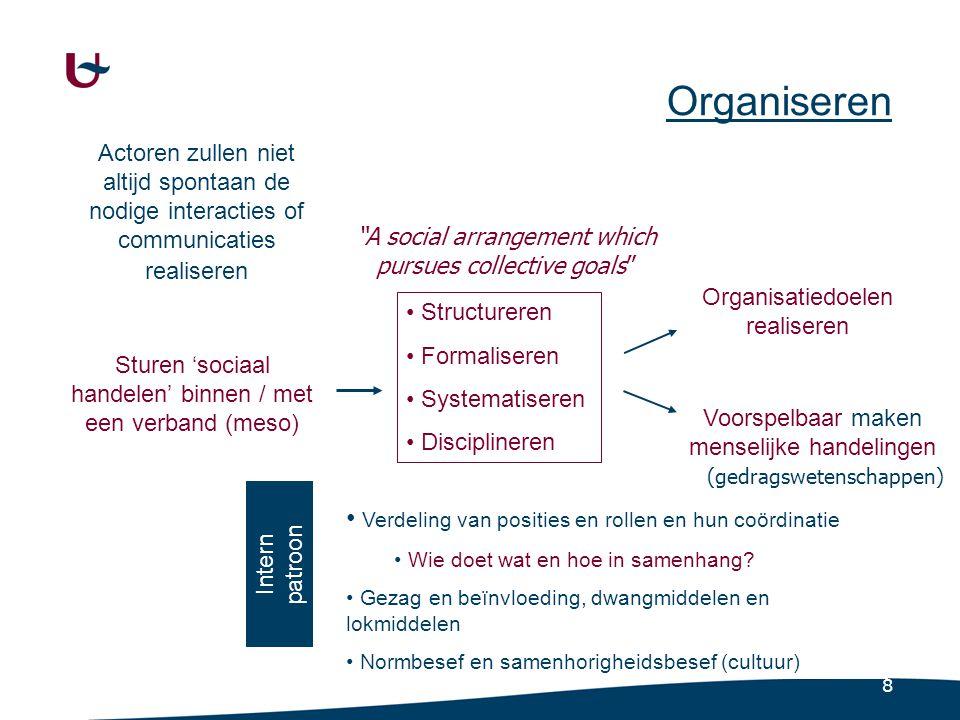 9 Organisatie als sociologisch vraagstuk (1) Afstemming van middelen op het collectieve doel van de organisatie.
