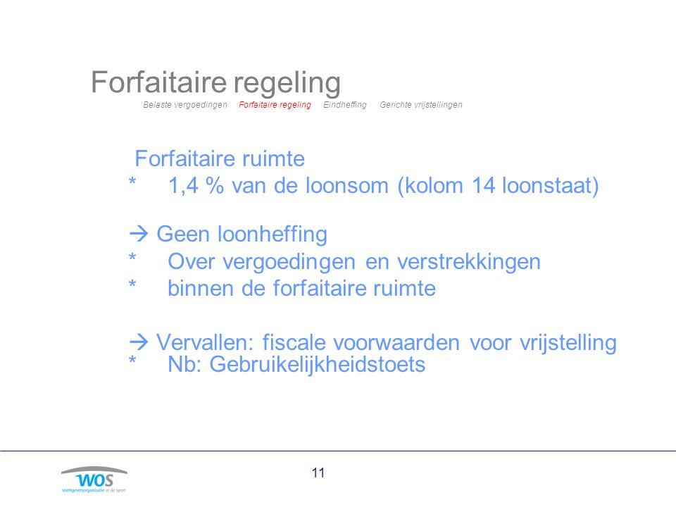 11 Forfaitaire regeling Belaste vergoedingen Forfaitaire regeling Eindheffing Gerichte vrijstellingen Forfaitaire ruimte *1,4 % van de loonsom (kolom