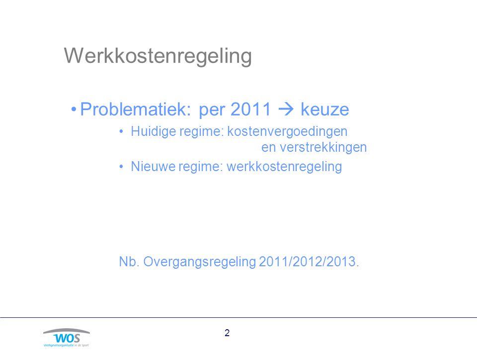 2 Werkkostenregeling Problematiek: per 2011  keuze Huidige regime: kostenvergoedingen en verstrekkingen Nieuwe regime: werkkostenregeling Nb. Overgan