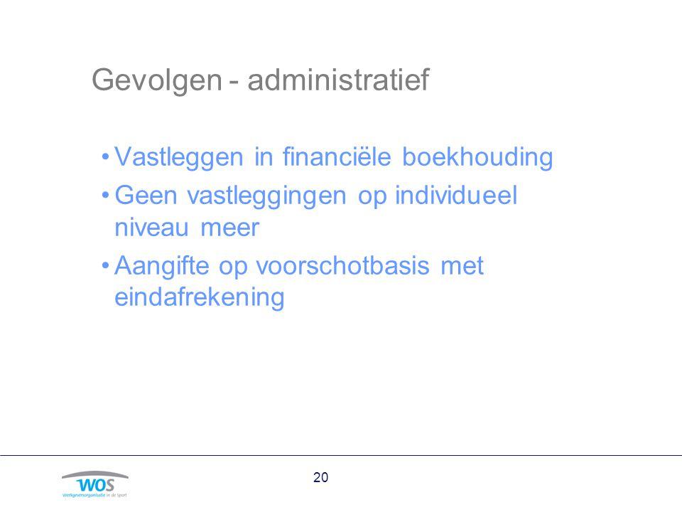 Gevolgen - administratief Vastleggen in financiële boekhouding Geen vastleggingen op individueel niveau meer Aangifte op voorschotbasis met eindafreke