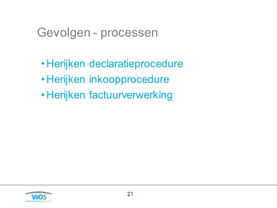 Gevolgen - processen Herijken declaratieprocedure Herijken inkoopprocedure Herijken factuurverwerking 21