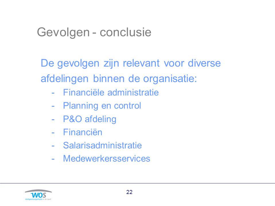 Gevolgen - conclusie De gevolgen zijn relevant voor diverse afdelingen binnen de organisatie: -Financiële administratie -Planning en control -P&O afde