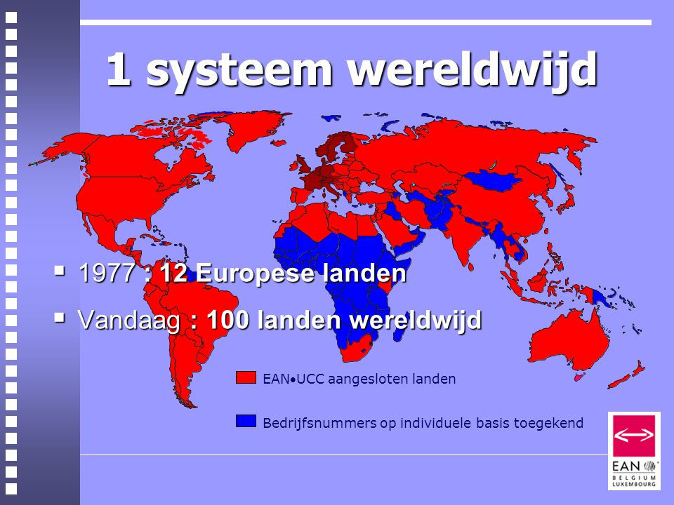 1 systeem wereldwijd EANUCC aangesloten landen Bedrijfsnummers op individuele basis toegekend  1977 : 12 Europese landen  Vandaag : 100 landen wereldwijd