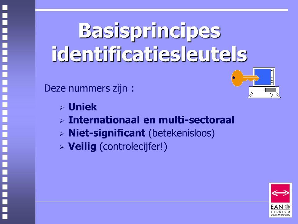Basisprincipes identificatiesleutels Deze nummers zijn :  Uniek  Internationaal en multi-sectoraal  Niet-significant (betekenisloos)  Veilig (controlecijfer!)